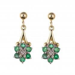 9ct Emerald and Diamond Drop Earrings AP1050