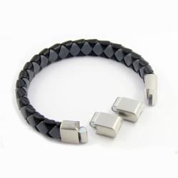 Magnetic Mens Leather Bracelet LM02M