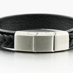 Magnetic Mens Leather Bracelet LB04M
