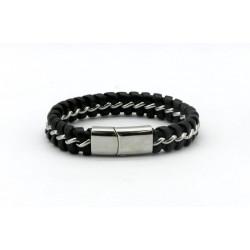 Magnetic Mens Leather Bracelet LB15M