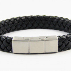 Magnetic Mens Leather Bracelet LB18M