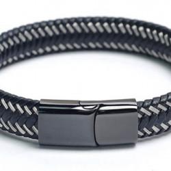 Magnetic Mens Leather Bracelet LB20M