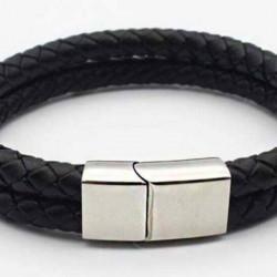 Magnetic Mens Leather Bracelet LB21M