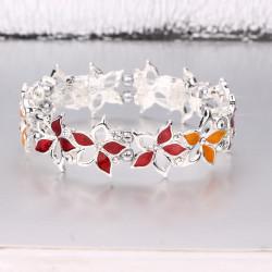 Magnetic Red and Orange Flower Bracelet MH3522