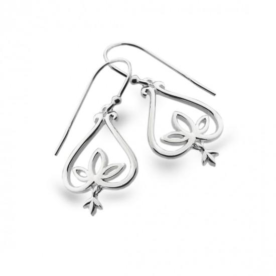 Sea Gems Silver Lotus Bell Dropper Earrings P3746