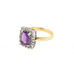 Pre Owned 18ct Amethyst and Diamond Cluster Ring ZK461