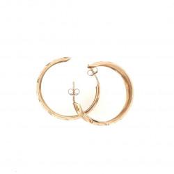 Pre Owned 9ct Half hoop Engraved Earrings ZK501