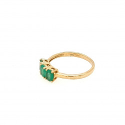 Pre Owned 9ct 3 Emerald Set Ring ZK511