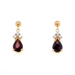 Pre Owned 9ct Garnet and Diamond Drop Earrings ZK572
