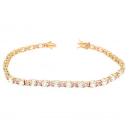 Pre Owned 14ct Pink and Clear CZ Bracelet ZK576