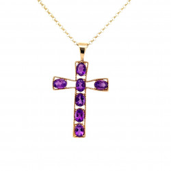 Pre Owned 9ct Amethyst Cross with Chain ZL91