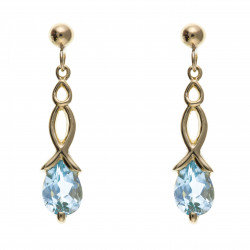 9ct Blue Topaz Drop Earrings AP0116