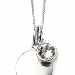 Birthstone Silver Pendant April P4593