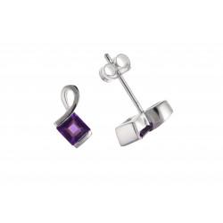 Silver Amethyst Stud Earrings BP0325
