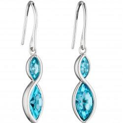 Fiorelli Silver Aqua Navette Twist Earrings E5801A