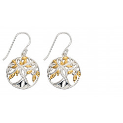 SIlver Tree Of Life Gold Plate Earrings E5808