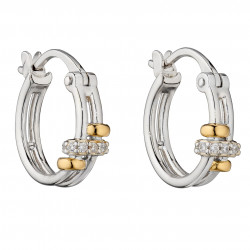 Fiorelli Silver Connected Rings Hoop Earrings with Yellow Gold Plating and CZ E5957C