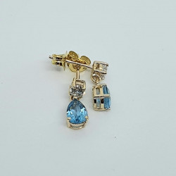 9ct Blue Topaz And CZ Drop Earrings GE1156BT