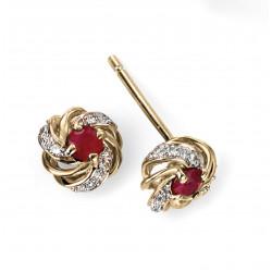 9ct Gold Ruby and Diamond Stud Earrings GE2002R