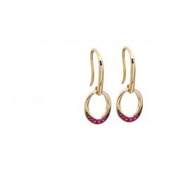 9ct Open Circle Ruby Drop Earrings GE2140R