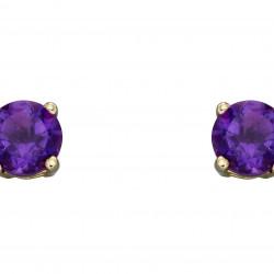 Birthstone 9ct Gold February Stud Earrings GE2327