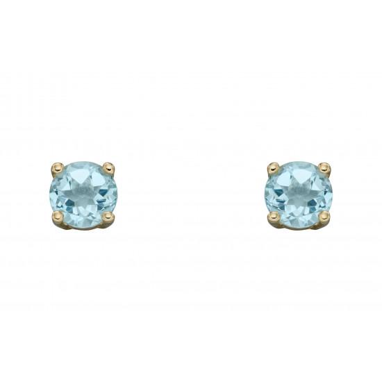 Birthstone 9ct Gold March Stud Earrings GE2328
