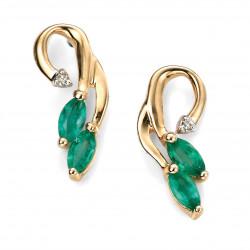 9ct Emerald and Dia Vine Drop Stud Earrings GE861G