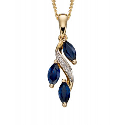 9ct Yellow Gold Sapphire And Diamond Marquise Drop Pendant GP2091L