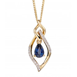 9ct Sapphire And Diamond Marquise Pendant GP2157L