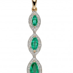 9ct Emerald and Diamond Drop Pendant GP2240G