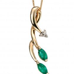 9ct Emerald and Dia Vine Drop Pendant GP846G