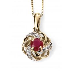 9ct Gold Ruby and Diamond Pendant GP977R