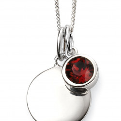 Birthstone Silver Pendant January P4590