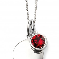 Birthstone Silver Pendant July P4596