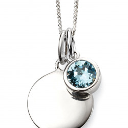Birthstone Silver Pendant March P4592