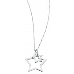 Silver Double Star 40+2cm NECKLACE N2730