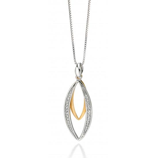 Fiorelli Silver Gold Plated CZ Pendant and Chain P3953C