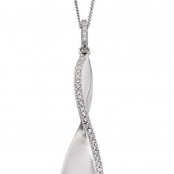 Fiorelli Silver Cubic Zirconia Twist Pendant and Chain P4786C