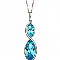 Fiorelli Silver Aqua Navette Twist Pendant and Chain P4800A