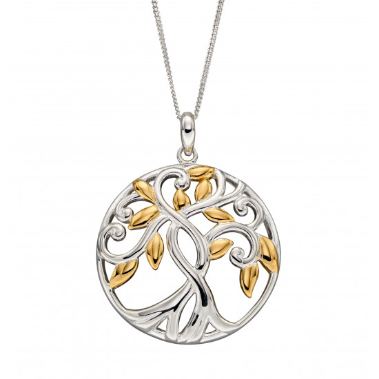 Silver Tree Of Life Gold Plate Pendant P4832