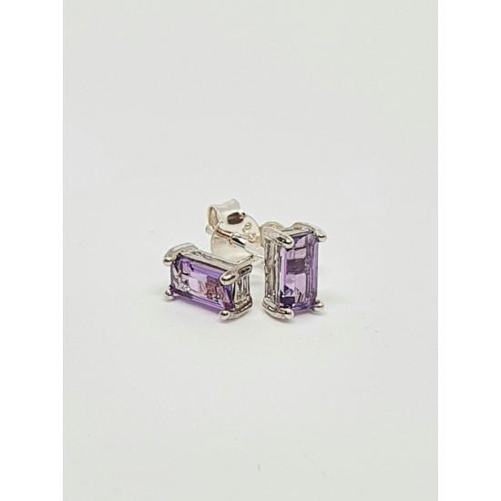 Silver Amethyst Oblong Stud Earrings SE1114AM