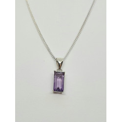 Silver Amethyst Oblong Pendant And Chain SP1141AM