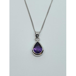 Silver Amethyst Pear Pendant And Chain SP1148AM