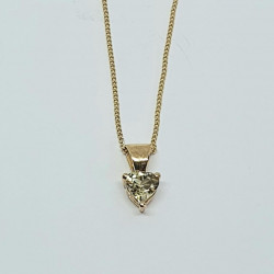 Pre Owned 9ct Pale Yellow Heart Pendant and Chain ZB264