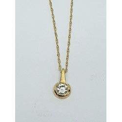 Pre Owned 9ct CZ Pendant and Chain ZG117