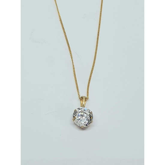 Pre Owned 9ct CZ Pendant and Chain ZH576