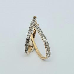 Pre Owned 9ct Diamond Half Hoop Earrings ZH693