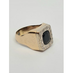 Pre Owned Sapphire and Diamond Signet Ring ZH876