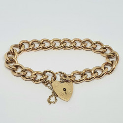 Pre Owned 9ct Curb Bracelet and Padlock ZK17