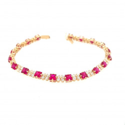 Pre Owned 14ct Ruby and CZ Bracelet ZK573